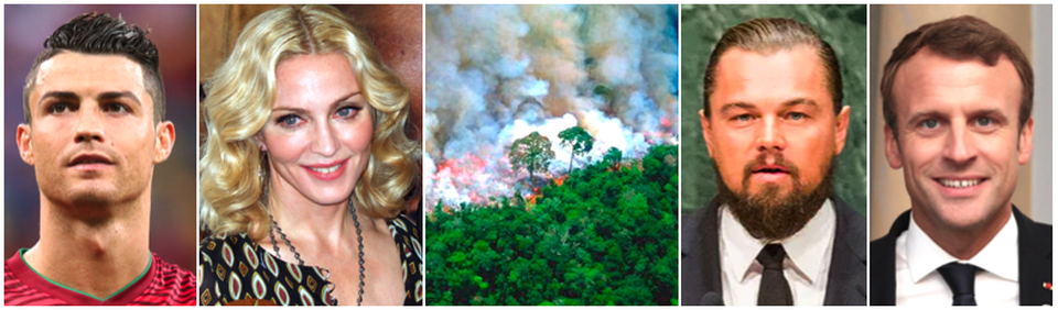 The dramatic photos shared by celebrities of the fires in Brazil weren't what they appeared to be