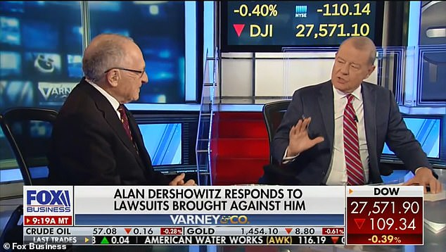 Showdown:Alan Dershowitz appeared on the Fox Business Network program Varney & Co on Monday to discuss his recent lawsuits (Dershowitz and host Stuart Varney above)