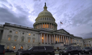 Dusk falls over the Capitol, in Washigton, on Dec. 21, 2020. (AP Photo/Jacquelyn Martin)